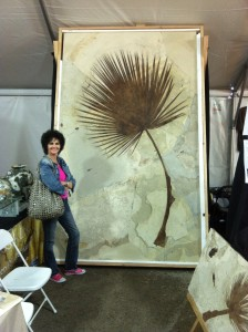 Sharon with a large fossilized palm